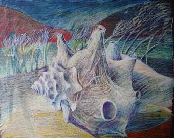 BEACH AT DAWN - Fine Art - Large Drawing - Oil Pastel - ElizabethAFox - Beach Scene - Prehistory Painting