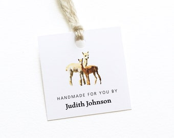 Alpaca Tags, Personalized Garment Labels, Knitting Tag, Gift for Knitters and Spinners, Clothing Tag, Crochet Gift, 15 Hang Tags