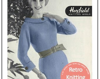 1950s Knitted Wiggle Dress - Vintage Knitting Pattern - PDF  Instant Download