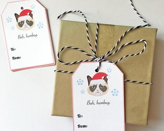 Grumpy Cat Gift Tags, Set of 10 Christmas Cat Gift Tags, Grumpy Cat Holiday Tags, Funny Christmas Gift Tags, Cat Christmas Gift Tags