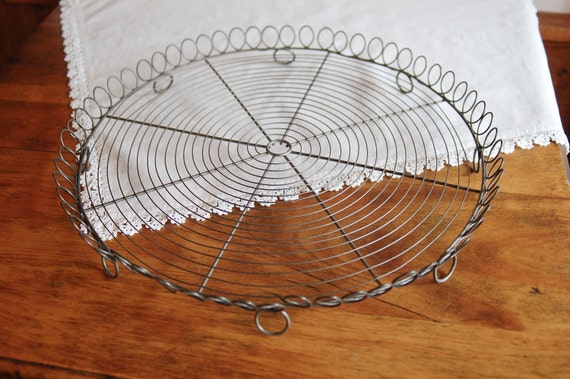 Vintage French Country Round Metal Wire Platter Tray