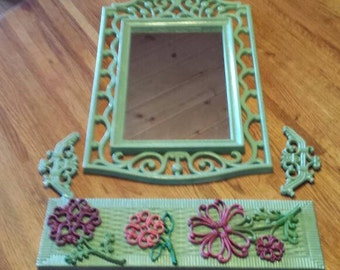 Vintage HomeCo Wall Mirror with Matching Shelf and Flowers 1970s  C801J