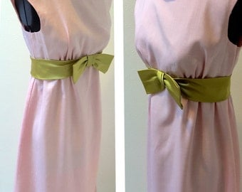 1960's Sleeveless Empire Waist Pink with Chartreuse Bow Bridesmaid Dress Ladies Size 10
