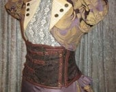 25% OFF - LARGE Amethyst Gold Cap Sleeve Jacket with Stand-up Collar
