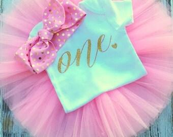 Baby Girl Pink Gold Birthday Tutu- Pink and Gold First Birthday Outfit- Gold and Pink One Birthday Outfit- Gold One 1st Birthday Outfit