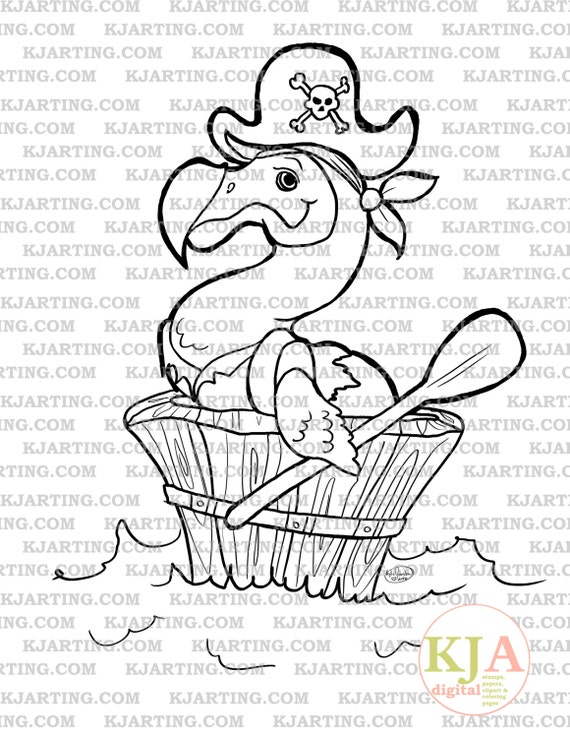 Pirate Dodo Digi-Stamp (Line_Art Printable_00107 KJArting)