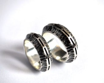 wedding sterling silver rings exundium alternative wedding bands unconventional wedding rings - Steampunk Wedding Rings