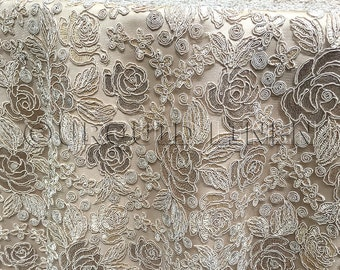 Valentina Lace Fabric in Champagne - Floral sequins embroidery fabric for weddings and decor.