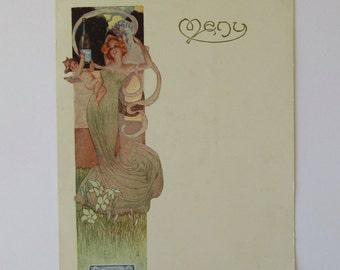 Antique Vintage Art Nouveau French Menu,  Leon Chandon Champagne Menu, French Advertising, Fabulous Graphics