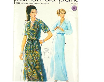Vintage dress pattern, French 1970s long dress with raglan sleeves EU size 44, US 12