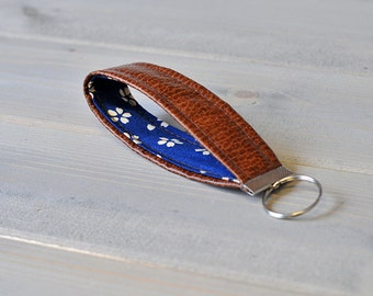 Navy Blue and White Flower Floral Brown Leather Keychain Keyfob