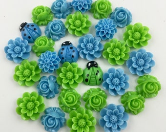 30 flower cabochon flower blue mix 15mm to 18mm,#FL 112