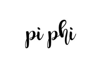 Pi Phi Cursive Decal