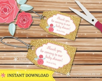 Pink Rose Gold Glitter Thank Your Tags Digital File INSTANT DOWNLOAD
