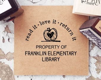 Teacher Stamp, Custom Library Stamp, Property of Stamp, Read Love Return Stamp, Book Stamp, Personalized Book Self Inking Stamp-  10273