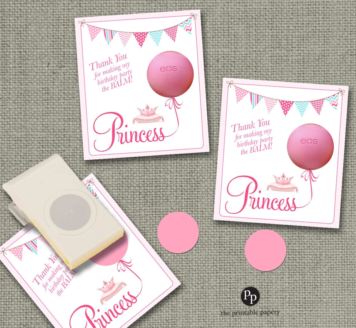 Birthday Party Gift Tags For Eos Lip Balm INSTANT DOWNLOAD