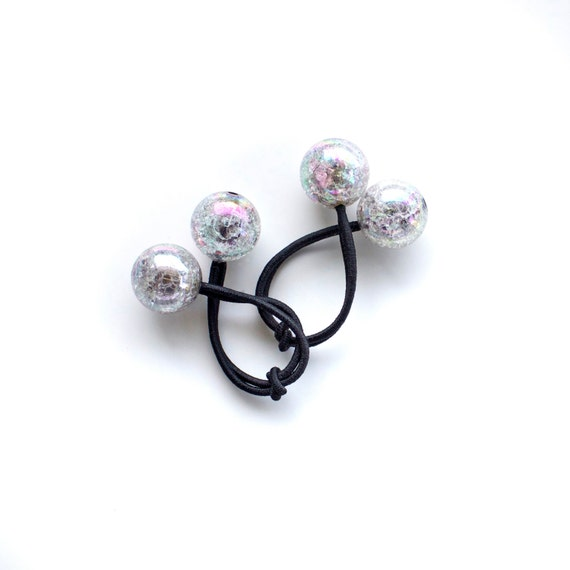 SMOKY CRACKLED bobbles. Pony Tail Holder. Hair Ties. Elastic Hair Ties. Retro Hair Bobbles.