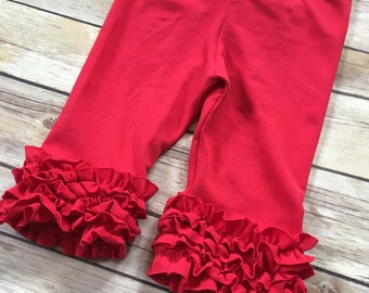 Mini ruffle capri leggings for baby, toddler girls. Size 6 months to 8 girls. Red capris. Red ruffle capris.