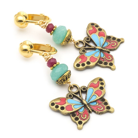items similar to gold butterfly clip on earrings gemstone