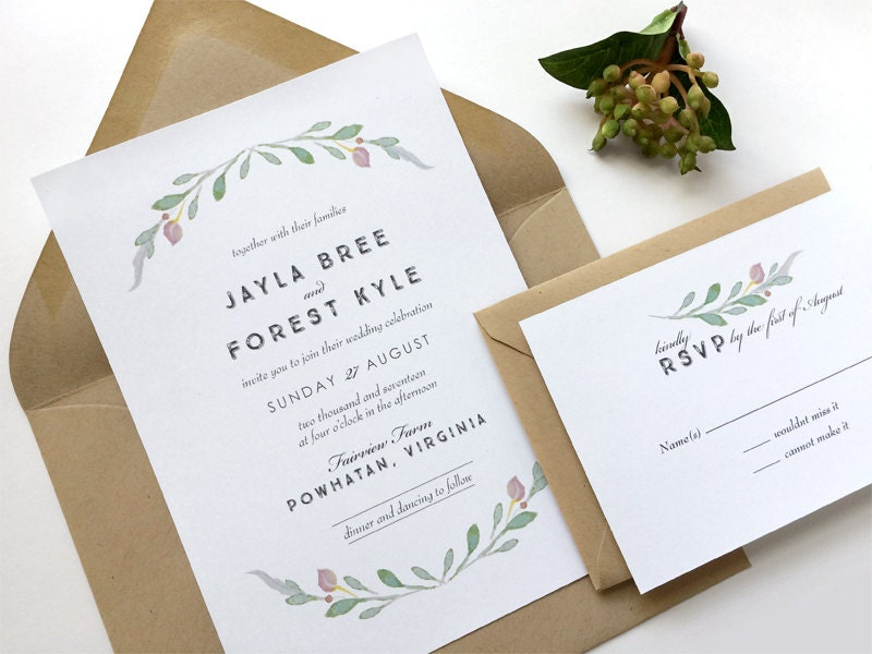 Simple Wedding Invitation Suite Rustic Wedding Invitation