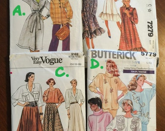 Butterick 4372 + 5779 * McCall's 7279 * Vogue 9169 Sizes 14-16-18 Womens Skirts, Tops, Dresses  Costumes - VINTAGE Great