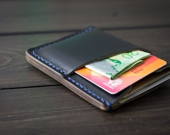 Minimalist leather wallet, minimalist wallet, slim wallet, front pocket wallet, credit card holder, personalized wallet - Black