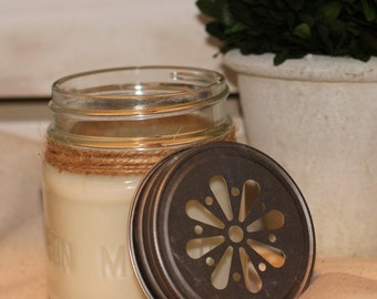 Hand poured soy candle with wooden wick