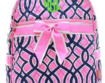 Personalized Ivy Trellis Quilted Kid's Backpack - Pink & Navy Monogrammed Embroidered Girls Bookbag School Bag