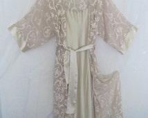 Kimono Style Natori Robe and Nightgown Set 1990 Chiffon Robe Ecru Robe  Robe Peignoir I Magnin Robe set