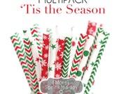 TIS THE SEASON Green and Red, Christmas, Paper Straws, Multipack, Christmas Straws, Chevron, Snowflake, Stars, Dots, 25 Straws, 5 Designs