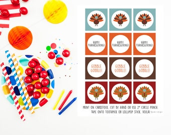 Thanksgiving Turkey Gobble Gobble! Cupcake Toppers {instant download}