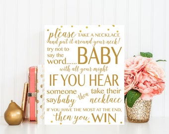 Don't Say Baby, Baby Shower Game, Printable Baby Shower Game, Baby Shower Sign,  Gold, Baby Shower Printable, Baby Shower Decor BAS1