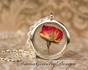 Real Rose Necklace, real flower, rose necklace, I love you, anniversary gift, keepsake, locket