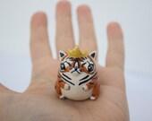 Kitty Tiger king Miniature tiger figurine Polymer tiger totem Polymer animal totem Animal figurine Fat cat figurine Cute cat totem Cat art
