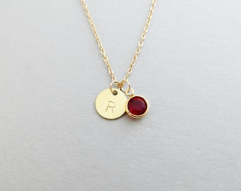 Hand Stamped Satin Gold Initial Disc Necklace With Swarovski
