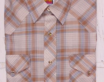 Vintage Miller Western Shirt Men's 16-1/2 35 Pearl Snap Plaid Long Sleeve