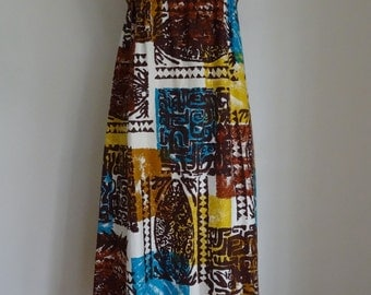 60's Dress Hawaiian Cotton Empire Waist Bark Cloth Abstract Dress