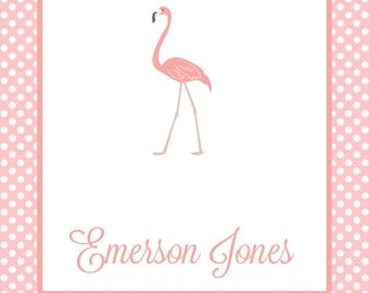 Personalized Flamingo Enclosure Cards For Girls