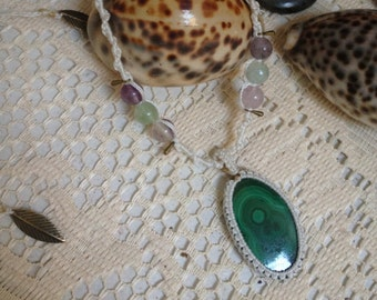 malachite and fluorite macrame necklace