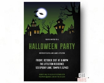Haunted House Halloween Invitation (Printable) Halloween Party Invitation - Halloween Birthday Invitation - Halloween Birthday Party Invite