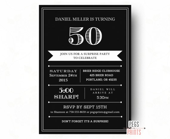 Surprise 50th Birthday Invitation for Men Printable Adult Surprise