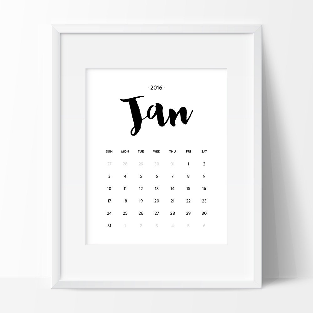 Minimalistic Calendar Design : Calendar printable monthly wall