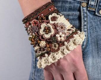 Brown Beige Cream Cappuccino Crochet Bracelet Cuff. Crochet Beaded Bracelet Cuff. Crochet Jewelry. Freeform Crochet Cuff.