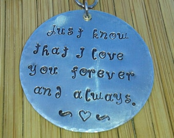 Just know that i love you - romantic hand stamped keychain gift for him love notes sentimental romance