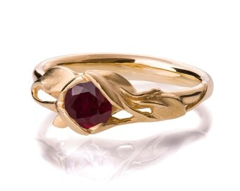 Leaves Engagement Ring - 18K Yellow Gold and Ruby engagement ring, engagement ring, leaf ring, filigree, antique, July Birthstone,recycled,6