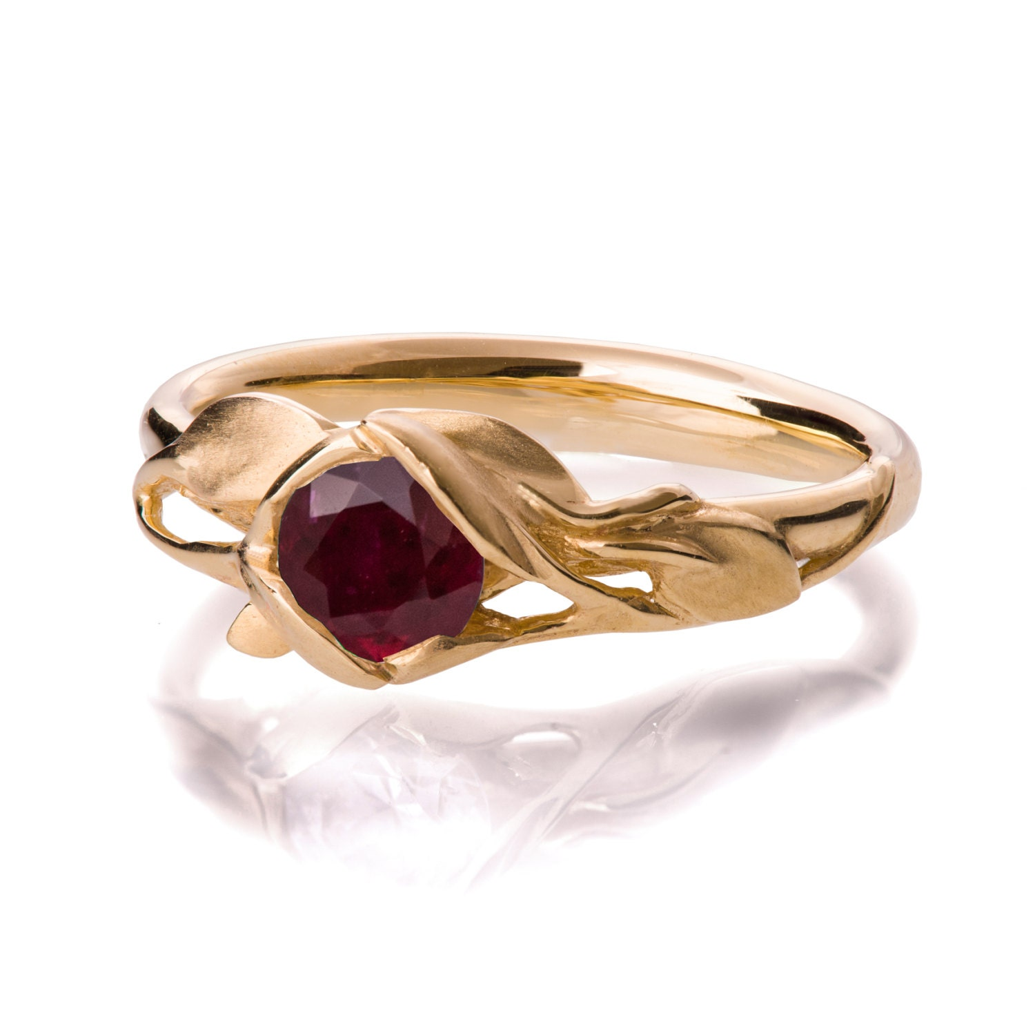 Leaves Engagement Ring  18k Yellow Gold And Ruby Engagement Ring,  Engagement Ring, Leaf