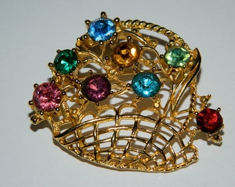 Vintage 1960s Gold Tone Basket with Multi Coloured Rhinestones