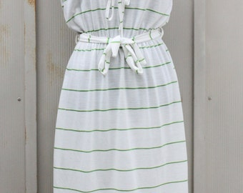 Preppy White and Green Striped Dress Set - Short Sleeve Summer Dress - 80s Indie Dress - 1980s Hipster Dress - White Sundress - Mod Dress