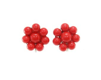 Vintage Red Cluster Earrings, Silver Tone, Lucite, Screw Backs