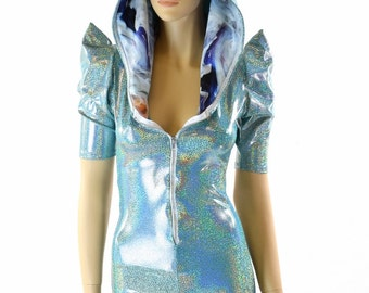 Seafoam Holographic Sharp Shoulder Dragon Romper with Front Zipper, Neon Pink Spikes & Swirling Smoke Hood Liner 152129